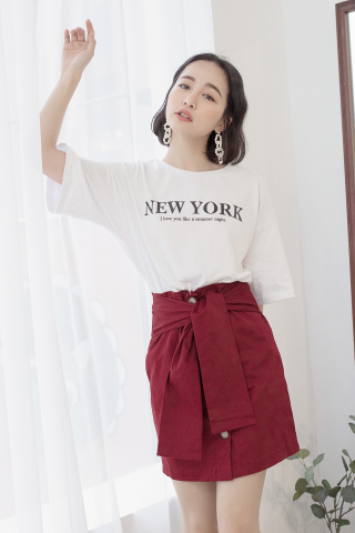 22DAYS BUTTON SKIRT IN MAROON