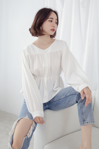 MY DAY WAISTBAND BLOUSE IN WHITE