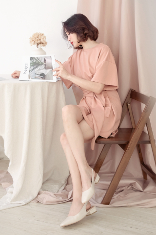 22DAYS SELF TIE COTTON DRESS IN DUSTY CORAL