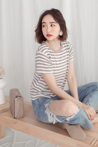 SUNDAY SOFT STRIPE TEE IN YAM