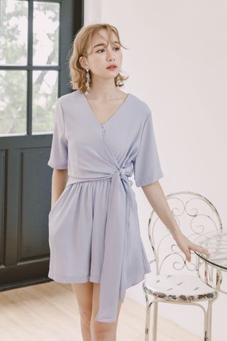 A' DAY KNOT ROMPER IN BABY BLUE