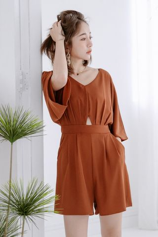 EVERY ' DAY V-NECK ROMPER IN BROWN