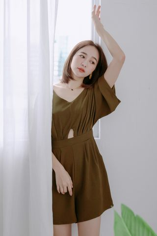 EVERY ' DAY V-NECK ROMPER IN OLIVE