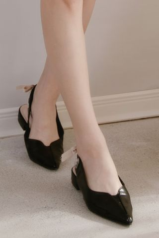 LES LACE UP BOW SLINGBACK FLATS IN BLACK