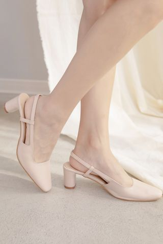 (BACKORDER) LES CLASSIC POINTED SLINGBACK HEELS IN NUDE