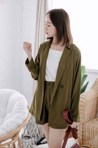 MIINE-MEE DOUBLE POCKETS BLAZER IN OLIVE
