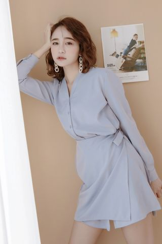 (BACKORDER) LES WRAP BUTTON DOWN DRESS IN BABY BLUE