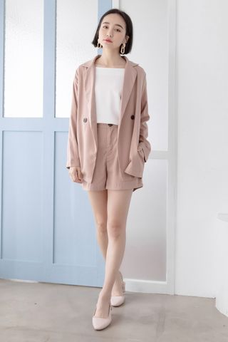 MILLY DOUBLE POCKETS BLAZER IN BLUSH