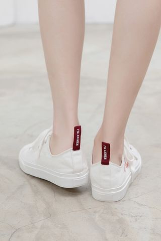 A' LOVE MORE CANVAS SNEAKERS IN WHITE