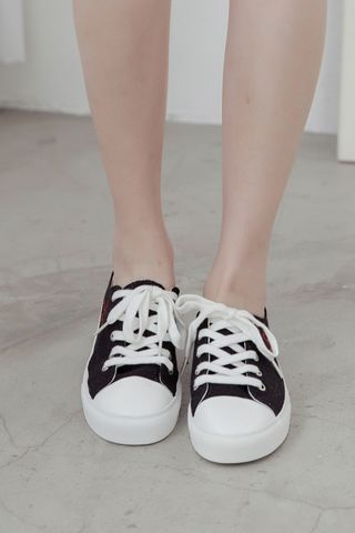 A' LOVE MORE CANVAS SNEAKERS IN BLACK