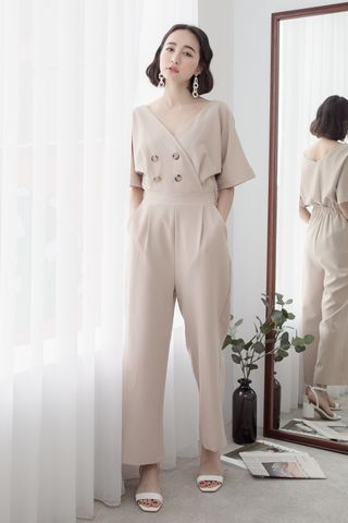 LUVFEE BUTTON V-NECK JUMPSUIT IN CREAM