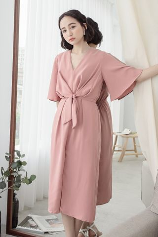 MIU TIE FRONT MIDI DRESS IN HONEY PINK