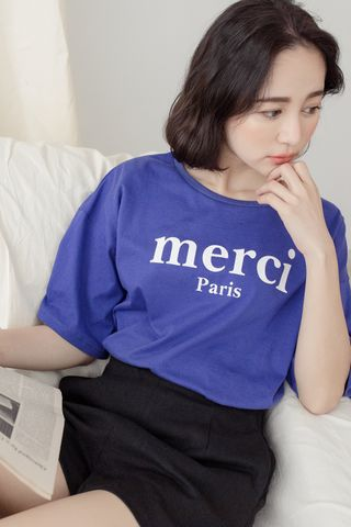 MERCI' UNISEX SLOGAN T-SHIRT IN BLUE