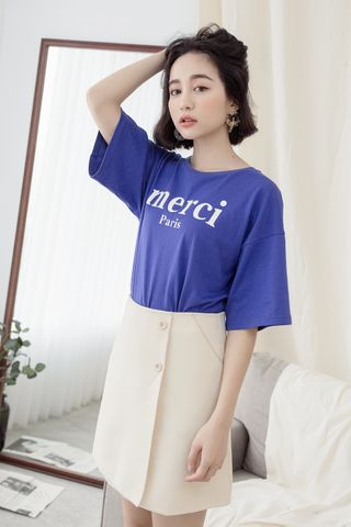 MERCI' UNISEX SLOGAN T-SHIRT IN BLUE