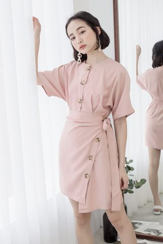 22DAYS BUTTON WRAP DRESS IN PINK
