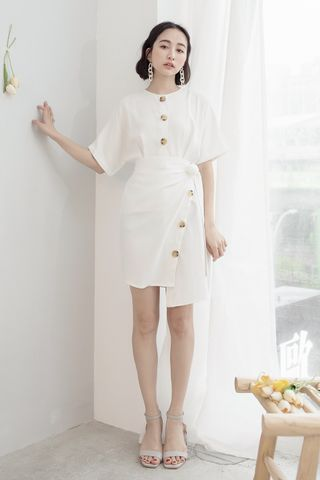 22DAYS BUTTON WRAP DRESS IN WHITE