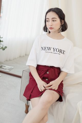 NEW YORK ' UNISEX SLOGAN T-SHIRT IN WHITE