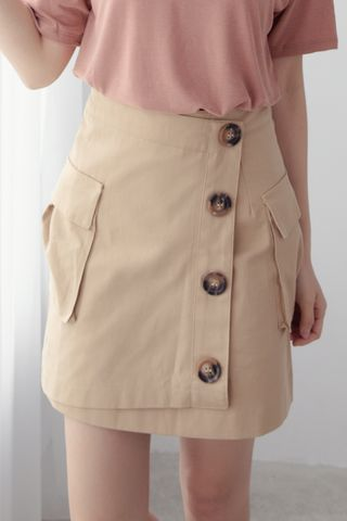 MY DAY DOUBLE POCKET SKIRT IN KHAKI
