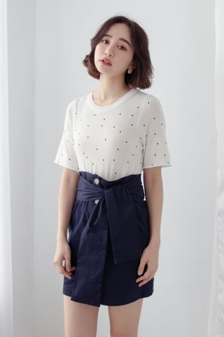 MY DAY POLKA DOT KNIT TOP IN WHITE