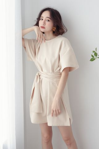 22DAYS SELF TIE COTTON DRESS IN CREAM