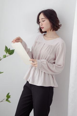 MY DAY WAISTBAND BLOUSE IN DUSTY BLUSH