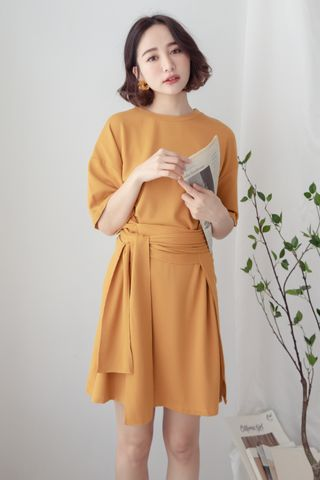 22DAYS SELF TIE COTTON DRESS IN MUSTARD