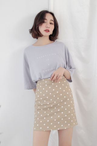 MY DAY POLKA DOT SKIRT IN KHAKI