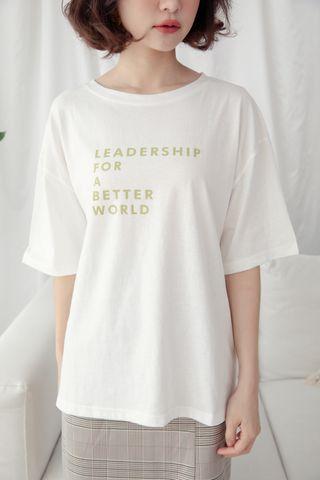 ' LEADERSHIP ' SLOGAN T-SHIRT IN WHITE