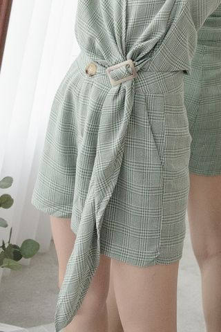 LUVFEE HOUNDSTOOTH PRINTED SHORTS IN GREEN