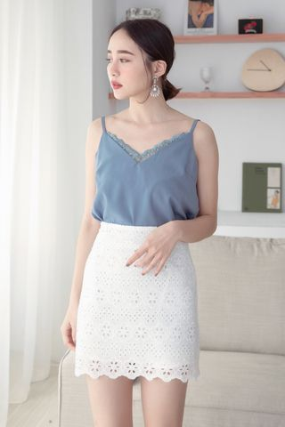 EVERYDAY LACE CAMI TOP IN DUSTY BLUE