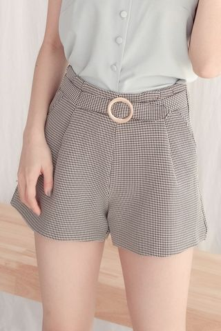 EVERYDAY BELTED HOUNDSTOOTH SHORTS