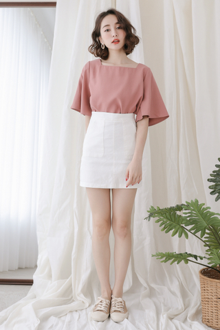 (BACKORDER) PEANUT DAY BASIC FLARE TOP IN DUSTY ROSE