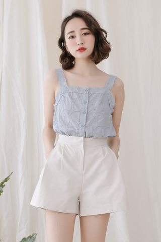 (BACKORDER) LOVE MYSELF ; EYELET BUTTON DOWN CAMI IN BLUE