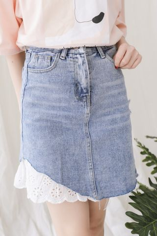 A LITTLE DAY LACE TRIM ASYMMETRICAL DENIM SKIRT
