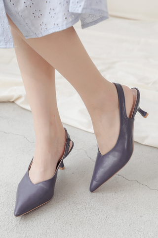 BETTER DAY POINTED TOE SLINGBACK HEELS IN DUSTY BLUE