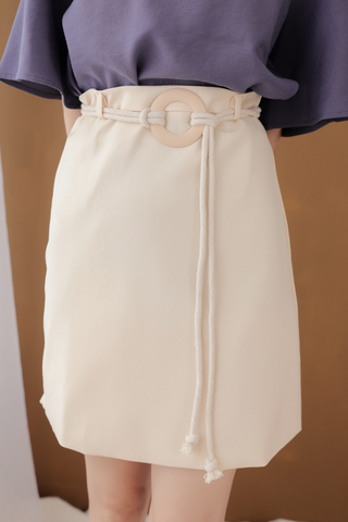 OPS A DAY BELTED SKIRT IN CREAMY
