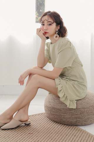 PEANUT DAY KOREA RUFFLED DRESS IN AVOCADO