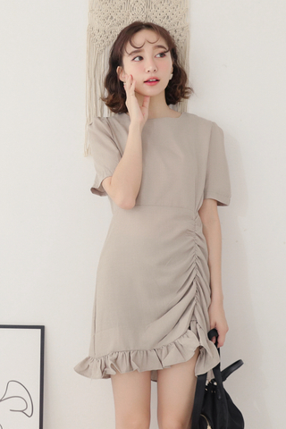 PEANUT DAY KOREA RUFFLED DRESS IN OAT MEAL