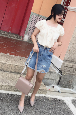 (BACKORDER) SUNDAY FRAYED HEM DENIM SKIRT