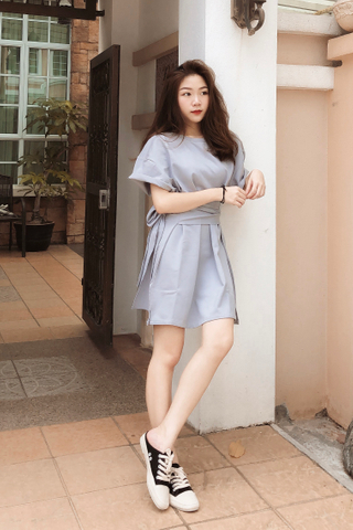 22DAYS SELF TIE COTTON DRESS IN BABY BLUE