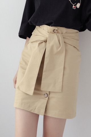22DAYS BUTTON SKIRT IN KHAKI