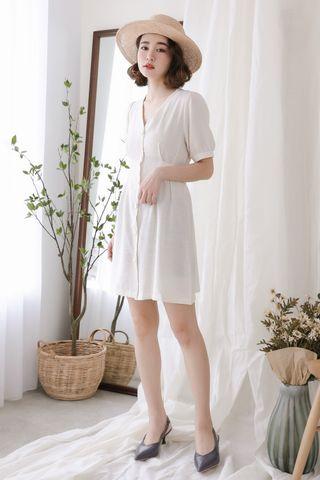 (BACKORDER) LOVE MYSELF ;  BUTTON DOWN DRESS IN CREAM WHITE