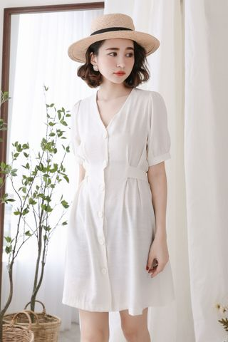 LOVE MYSELF ;  BUTTON DOWN DRESS IN CREAM WHITE