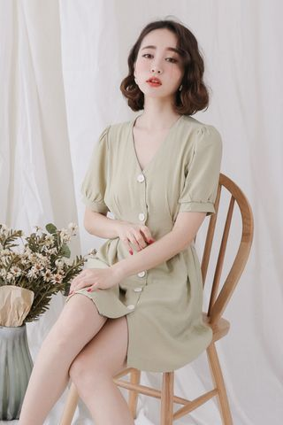 (BACKORDER) LOVE MYSELF ;  BUTTON DOWN DRESS IN WASABI