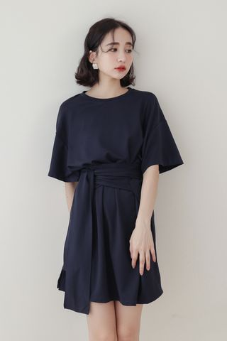 22DAYS SELF TIE COTTON DRESS IN NAVY BLUE