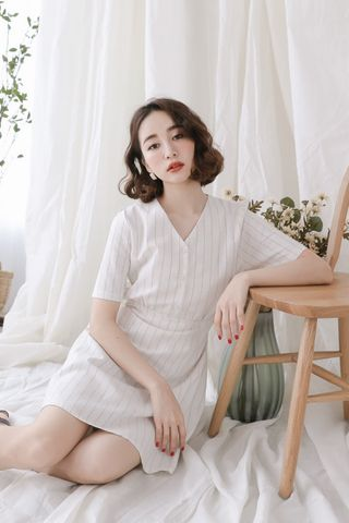 (BACKORDER) LOVE MYSELF ;  STRIPY DRESS IN WHITE