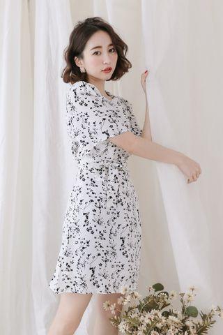 SELF LOVE KOREA FLORAL PRINTED DRESS IN WHITE