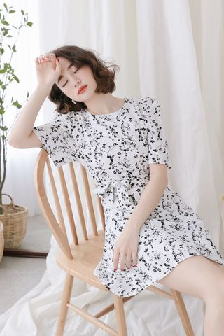 SELF LOVE KOREA FLORAL PRINTED DRESS IN WHITE