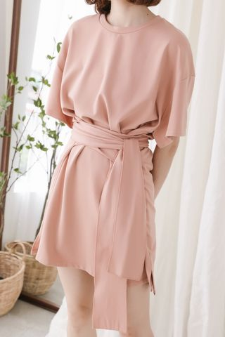 (BACKORDER) 22DAYS SELF TIE COTTON DRESS IN DUSTY CORAL
