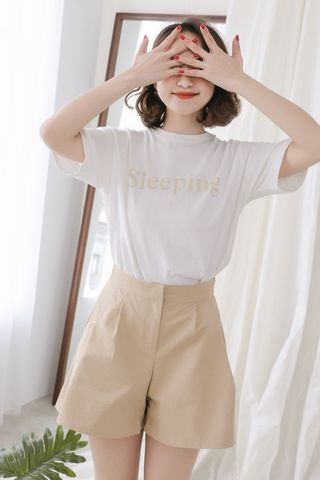 SELF LOVE SLEEPING SLOGAN TEE IN BABY YELLOW